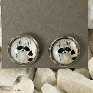 Cabochon Glas Ohrringe Ohrstecker 12mm, Waschbär Design, ´Silberfarbenes Metall     - Handarbeit kaufen
