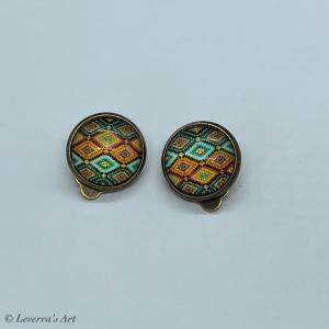 Cabochon Glas Ohrringe Ohrclips Ohrklemmen 12mm,  Mandala bunt Design, Bronzefarbenes Metall  - Handarbeit kaufen