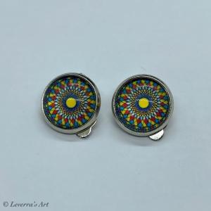 Cabochon Glas Ohrringe Ohrclips Ohrklemmen 12mm,  Mandala bunt Design, Silberfarbenes Metall   - Handarbeit kaufen