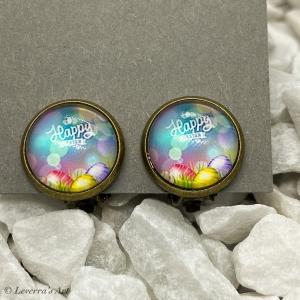 Cabochon Glas Ohrringe Ohrclips Ohrklemmen 12mm,  Ostern Eier Design, Bronzefarbenes Metall    - Handarbeit kaufen