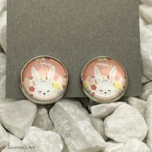 Cabochon Glas Ohrringe Ohrclips Ohrklemmen 12mm,  Ostern Hase Design, Silberfarbenes Metall    - Handarbeit kaufen
