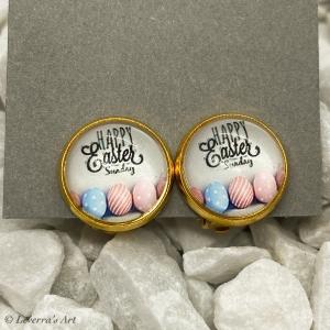 Cabochon Glas Ohrringe Ohrclips Ohrklemmen 12mm,  Ostern Eier Design, Goldfarbenes Metall      - Handarbeit kaufen