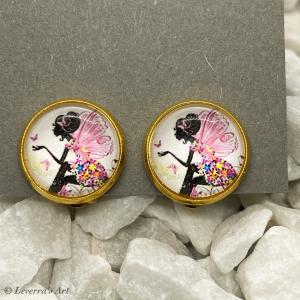 Cabochon Glas Ohrringe Ohrclips Ohrklemmen 12mm, Fee bunt Design, Goldfarbenes Metall   - Handarbeit kaufen