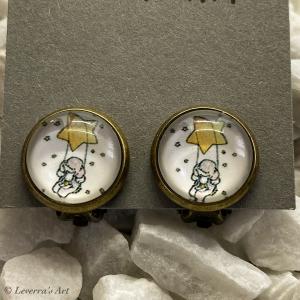 Cabochon Glas Ohrringe Ohrclips Ohrklemmen 12mm, Elefant Design, Bronzefarbenes Metall      - Handarbeit kaufen