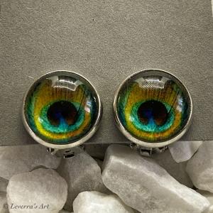 Cabochon Glas Ohrringe Ohrclips Ohrklemmen 12mm, Pfauenfeder Design, Silberfarbenes Metall