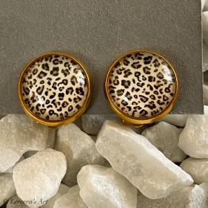 Cabochon Glas Ohrringe Ohrclips Ohrklemmen 12mm, Animal Print Leopard Design, Goldfarbenes Metall  - Handarbeit kaufen