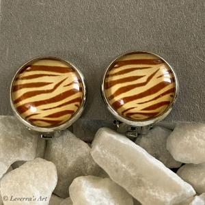 Cabochon Glas Ohrringe Ohrclips Ohrklemmen 12mm, Animal Print Leopard Design, Silberfarbenes Metall   - Handarbeit kaufen