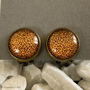 Cabochon Glas Ohrringe Ohrclips Ohrklemmen 12mm, Animal Print Leopard Design Bronzefarbenes Metall    - Handarbeit kaufen
