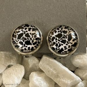 Cabochon Glas Ohrringe Ohrclips Ohrklemmen 12mm, Animal Print Design Silberfarbenes Metall   - Handarbeit kaufen