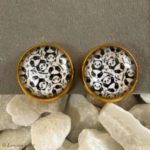 Cabochon Glas Ohrringe Ohrclips Ohrklemmen 12mm, Panda Süß Design, Goldfarbenes Metall    - Handarbeit kaufen
