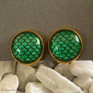Cabochon Glas Ohrringe Ohrclips Ohrklemmen 12mm, Meerjungfrau Schwanz Design, Grün, Goldfarbenes Metall      - Handarbeit kaufen