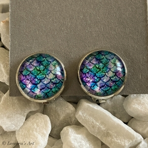 Cabochon Glas Ohrringe Ohrclips Ohrklemmen 12mm, Meerjungfrau Schwanz Design, bunt, Silberfarbenes Metall       - Handarbeit kaufen