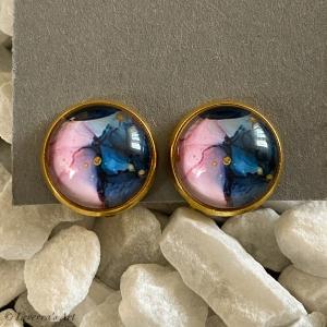 Cabochon Glas Ohrringe Ohrclips Ohrklemmen 12mm, Marmor Design, Rosa Blau, Goldfarbenes Metall        - Handarbeit kaufen