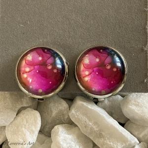 Cabochon Glas Ohrringe Ohrclips Ohrklemmen 12mm, Marmor Design, Rosa, Silberfarbenes Metall