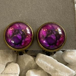 Cabochon Glas Ohrringe Ohrclips Ohrklemmen 12mm, Marmor Design, Lila, Bronzefarbenes Metall       - Handarbeit kaufen