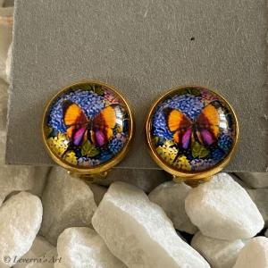 Cabochon Glas Ohrringe Ohrclips Ohrklemmen 12mm, Blumig Schmetterling Design, Bunt, Goldfarbenes Metall    - Handarbeit kaufen