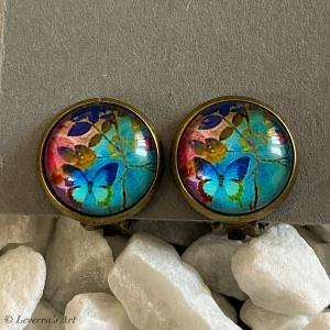 Cabochon Glas Ohrringe Ohrclips Ohrklemmen 12mm, Blumig Schmetterling Design, Bunt, Bronzefarbenes Metall   - Handarbeit kaufen