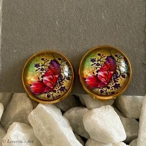 Cabochon Glas Ohrringe Ohrclips Ohrklemmen 12mm, Schmetterling Design, Bunt, Goldfarbenes Metall    - Handarbeit kaufen