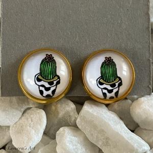 Cabochon Glas Ohrringe Ohrclips Ohrklemmen 12mm, Kaktus Sukkulente Pflanzen bunt Design, Goldfarbenes Metall     - Handarbeit kaufen