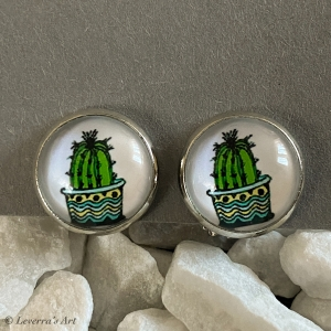 Cabochon Glas Ohrringe Ohrclips Ohrklemmen 12mm, Kaktus Sukkulente Pflanzen bunt Design, Silberfarbenes Metall     - Handarbeit kaufen