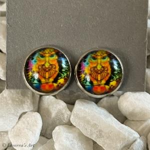 Cabochon Glas Ohrringe Ohrclips Ohrklemmen 12mm, Eule bunt Design, Silberfarbenes Metall       - Handarbeit kaufen