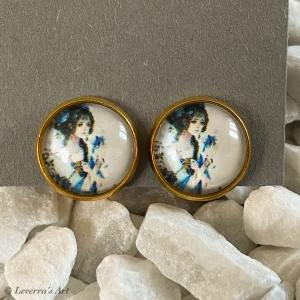 Cabochon Glas Ohrringe Ohrclips Ohrklemmen 12mm, Japanische Frau bunt Design, Goldfarbenes Metall       - Handarbeit kaufen
