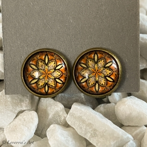 Cabochon Glas Ohrringe Ohrclips Ohrklemmen 12mm, Mandala bunt Design, Braun, Bronzefarbenes Metall        - Handarbeit kaufen