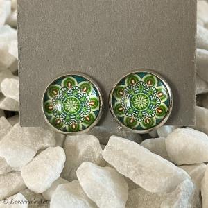 Cabochon Glas Ohrringe Ohrclips Ohrklemmen 12mm, Mandala bunt Design, Grün, Silberfarbenes Metall         - Handarbeit kaufen