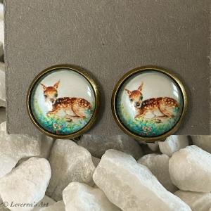 Cabochon Glas Ohrringe Ohrclips Ohrklemmen 12mm,  Hirsch Rentier Design, Bronzefarbenes Metall        - Handarbeit kaufen