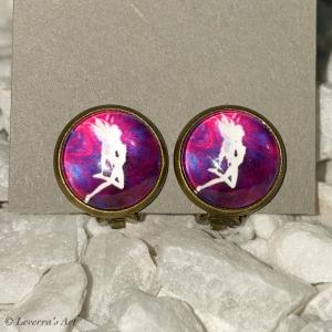 Cabochon Glas Ohrringe Ohrclips Ohrklemmen 12mm,  Fee bunt Design, Bronzefarbenes Metall         - Handarbeit kaufen