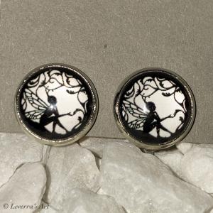 Cabochon Glas Ohrringe Ohrclips Ohrklemmen 12mm,  Fee Design, Silberfarbenes Metall