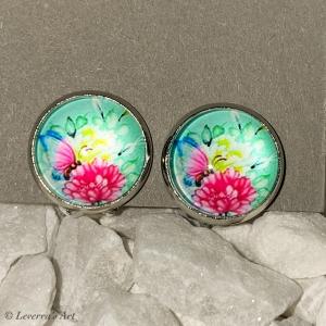 Cabochon Glas Ohrringe Ohrclips Ohrklemmen 12mm,  Blumig bunt Design, Silberfarbenes Metall       - Handarbeit kaufen