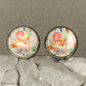 Cabochon Glas Ohrringe Ohrclips Ohrklemmen 12mm,  Einhorn Unicorn bunt Design, Silberfarbenes Metall       - Handarbeit kaufen