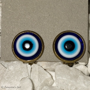 Cabochon Glas Ohrringe Ohrclips Ohrklemmen 12mm,   Türkisches Auge Blau Design, Bronzefarbenes Metall      - Handarbeit kaufen