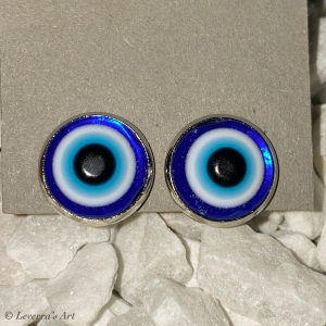 Cabochon Glas Ohrringe Ohrclips Ohrklemmen 12mm,   Türkisches Auge Blau Design, Silberfarbenes Metall