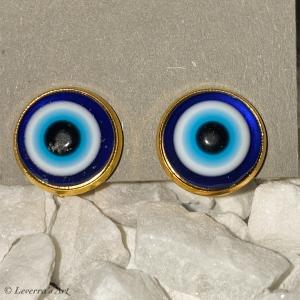 Cabochon Glas Ohrringe Ohrclips Ohrklemmen 12mm, Türkisches Auge Blau Design, Goldfarbenes Metall       - Handarbeit kaufen