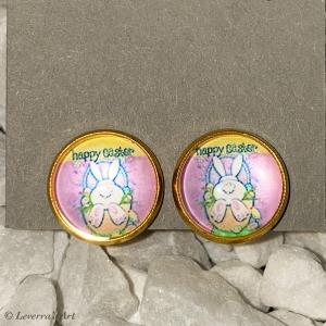 Cabochon Glas Ohrringe Ohrclips Ohrklemmen 12mm, Ostern Design, Goldfarbenes Metall     - Handarbeit kaufen