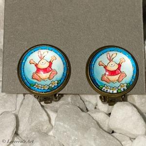Cabochon Glas Ohrringe Ohrclips Ohrklemmen 12mm, Ostern Design, Bronzefarbenes Metall    - Handarbeit kaufen