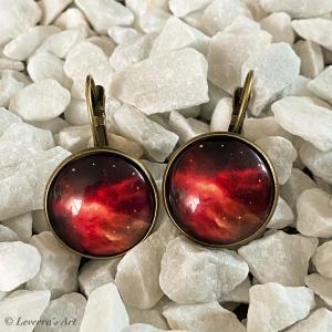 Cabochon Glas Ohrringe Ohrhänger 18mm, Galaxis Universum Planet Design, Bronzefarbenes Metall
