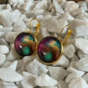 Cabochon Glas Ohrringe Ohrhänger 18mm, Galaxis Universum Planet Design, Goldfarbenes Metall      - Handarbeit kaufen