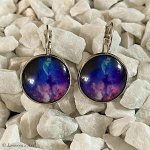 Cabochon Glas Ohrringe Ohrhänger 18mm, Galaxis Universum Planet Design, Silberfarbenes Metall      - Handarbeit kaufen