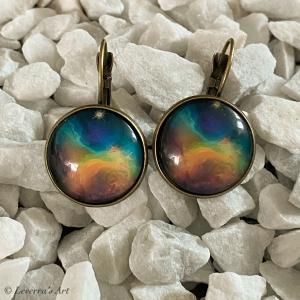 Cabochon Glas Ohrringe Ohrhänger 18mm, Galaxis Universum Planet Design, Bronzefarbenes Metall      - Handarbeit kaufen