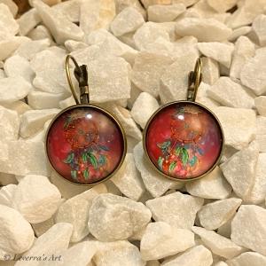 Cabochon Glas Ohrringe Ohrhänger 18mm, Traumfänger Design, bunt, Bronzefarbenes Metall       - Handarbeit kaufen