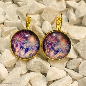 Cabochon Glas Ohrringe Ohrhänger 18mm, Buntes Feuerwerk Design, Goldfarbenes Metall        - Handarbeit kaufen