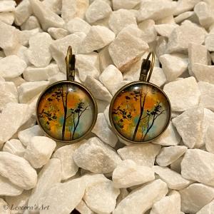 Cabochon Glas Ohrringe Ohrhänger 18mm, Herbst Baum  Design, Bronzefarbenes Metall        - Handarbeit kaufen