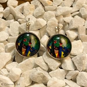 Cabochon Glas Ohrringe Ohrhänger 18mm, Mann und Frau  Design, Silberfarbenes Metall       - Handarbeit kaufen