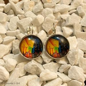 Cabochon Glas Ohrringe Ohrhänger 18mm, Landschaft Gemälde Design, Silberfarbenes Metall        - Handarbeit kaufen