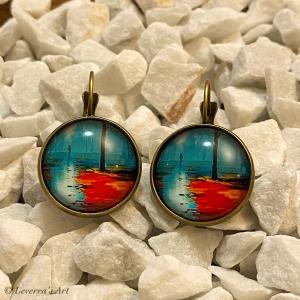 Cabochon Glas Ohrringe Ohrhänger 18mm, Gemälde Design, Bronzefarbenes Metall        - Handarbeit kaufen