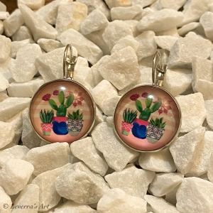 Cabochon Glas Ohrringe Ohrhänger 18mm, Kaktus Sukkulente Pflanzen bunt Design, Silberfarbenes Metall     - Handarbeit kaufen