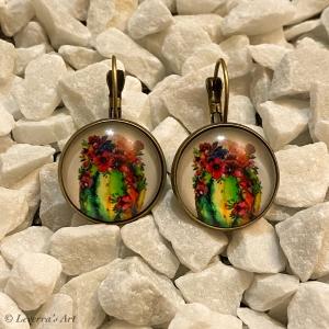 Cabochon Glas Ohrringe Ohrhänger 18mm, Kaktus Sukkulente Pflanzen bunt Design, Bronzefarbenes Metall     - Handarbeit kaufen